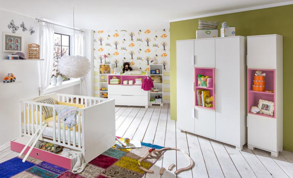 Armoire 3 portes joris chambre bebe blanc rose for Amenager chambre parents avec bebe