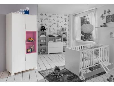 Armoire 3 portes Joris chambre bebe blanc/rose