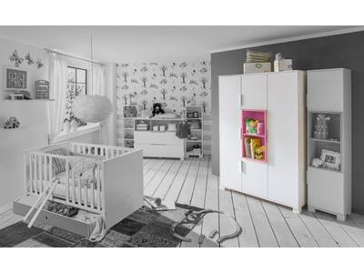 Armoire 4 portes Joris chambre bebe blanc/rose