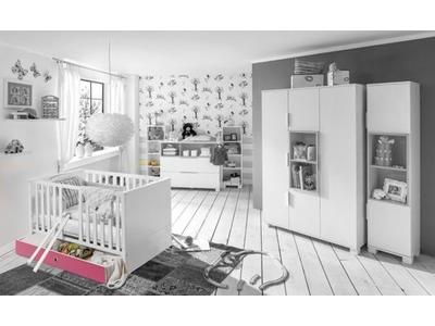 Tiroir lit Joris chambre bebe blanc/rose