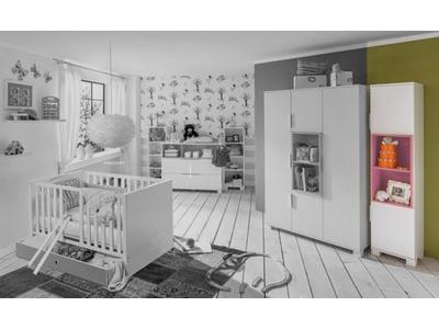 Armoire 2 portes Joris chambre bebe blanc/rose