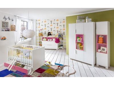 Commode À langer Joris chambre bebe blanc/rose