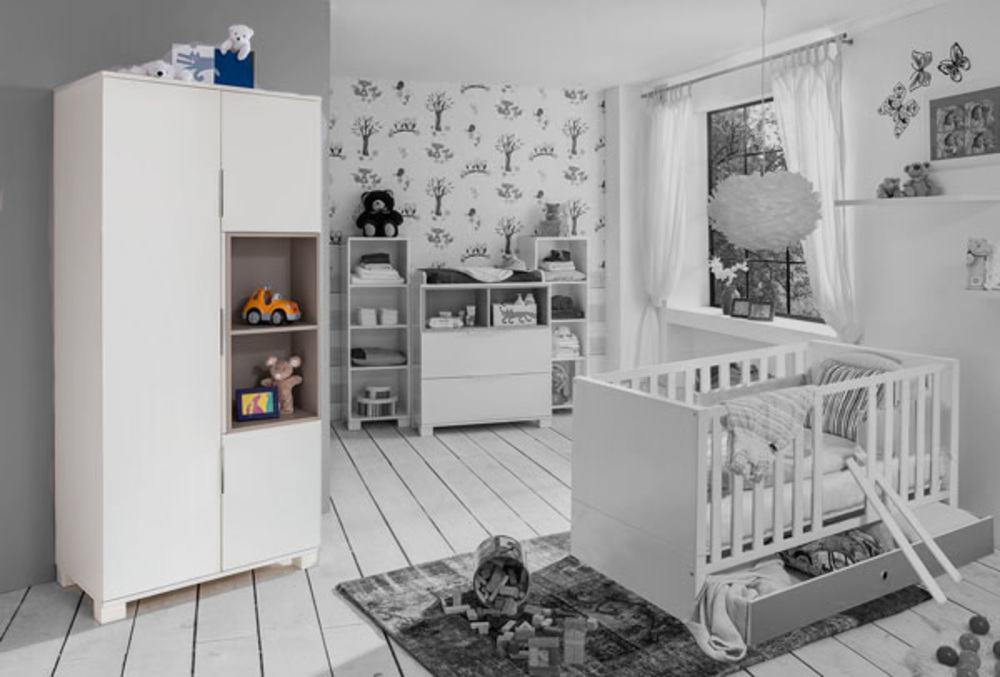 Armoire 3 portes joris chambre bebe blanc gris sable - Chambre gris blanc ...