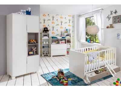 Armoire 3 portes Joris chambre bebe blanc/gris sable