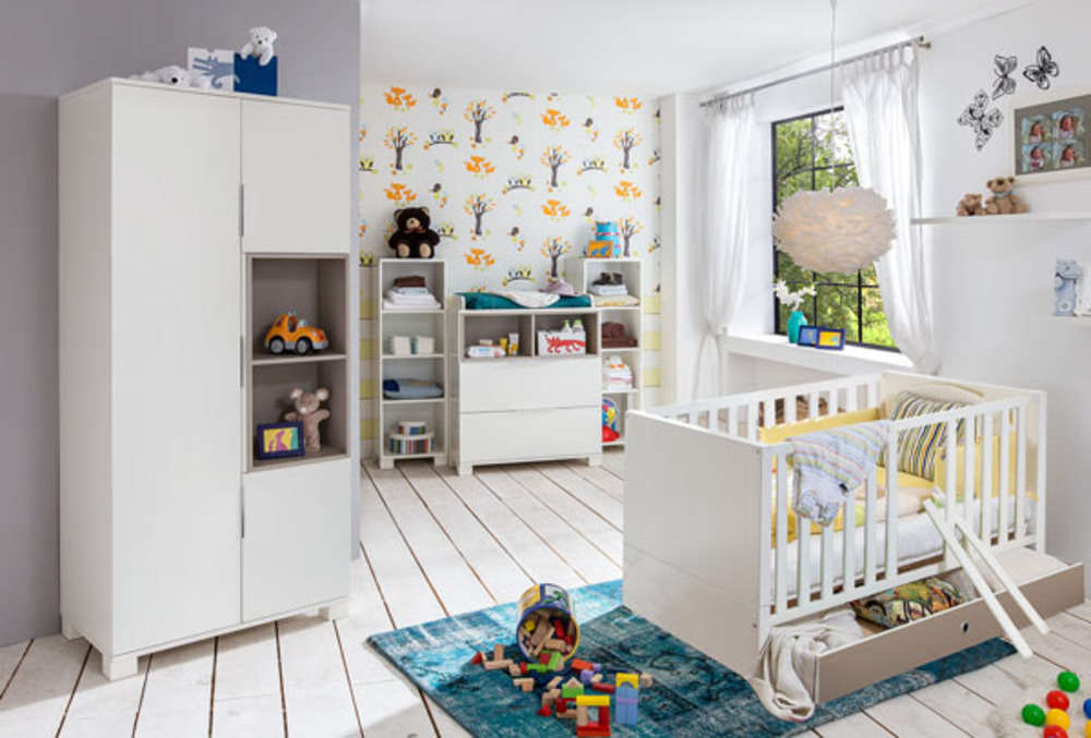 armoire 3 portes joris chambre bebe blanc gris sable. Black Bedroom Furniture Sets. Home Design Ideas