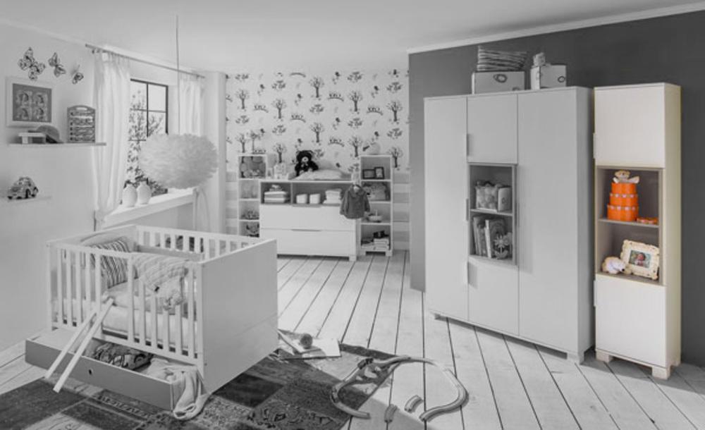 armoire 2 portes joris chambre bebe blanc gris sable. Black Bedroom Furniture Sets. Home Design Ideas