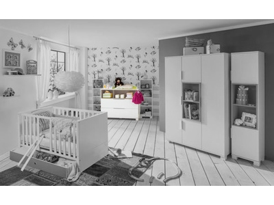Commode À langer gm Joris chambre bebe blanc/gris sable
