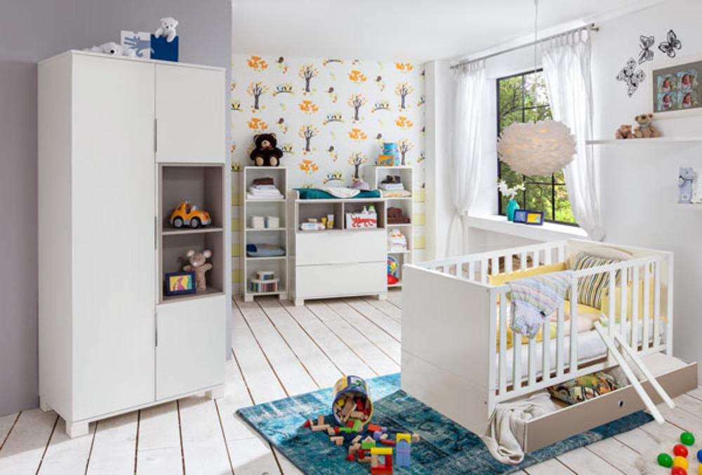 Etagere joris chambre bebe blanc gris sable for Chambre bebe meuble blanc