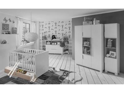 Tiroir lit Joris chambre bebe blanc/gris sable