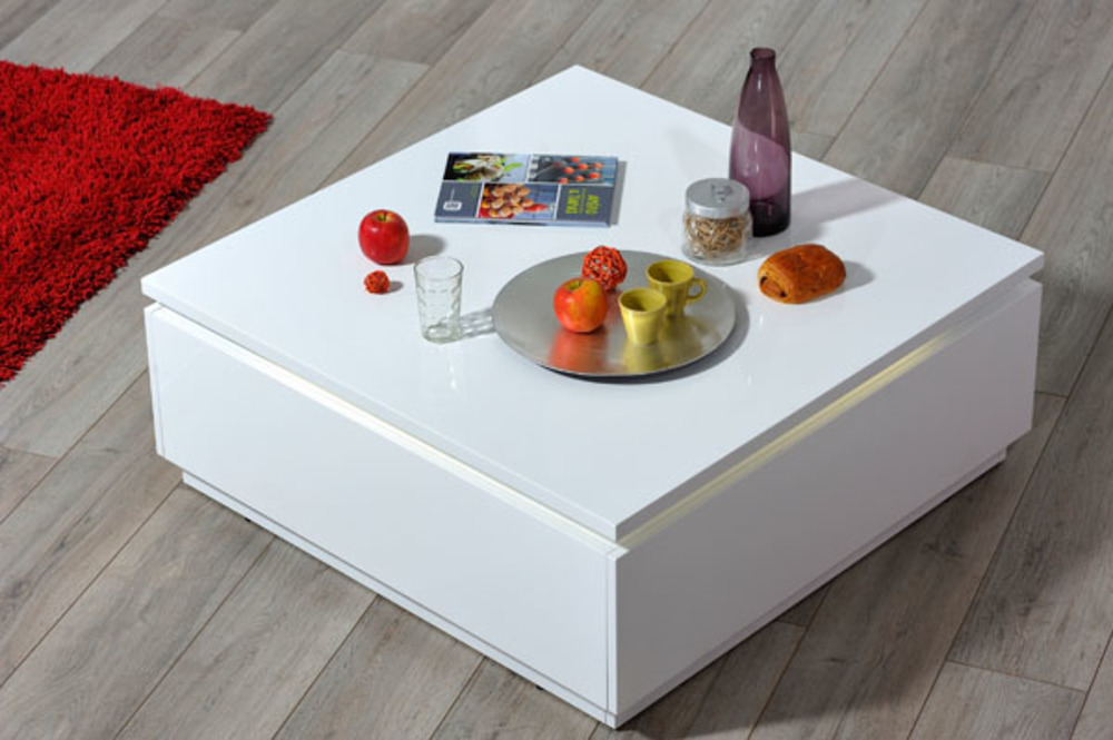 Table basse electra laque blanche blanc brillant for Table salon laque blanc