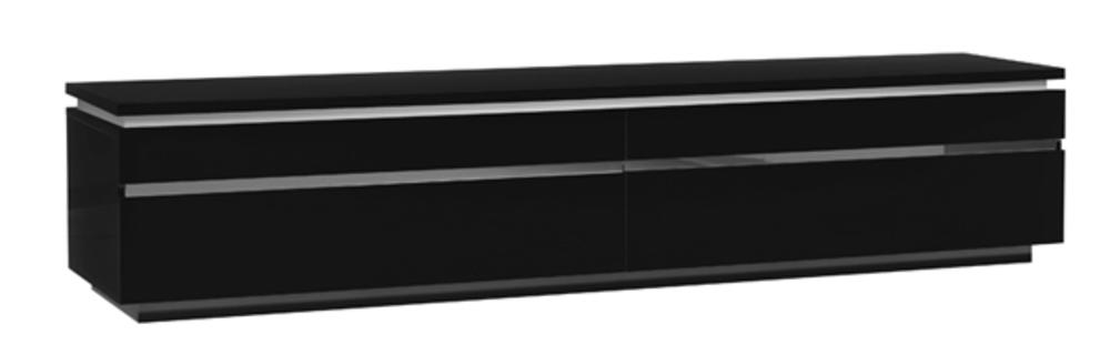 Meuble tv electra laque noir noir brillant for Meuble de cuisine noir laque