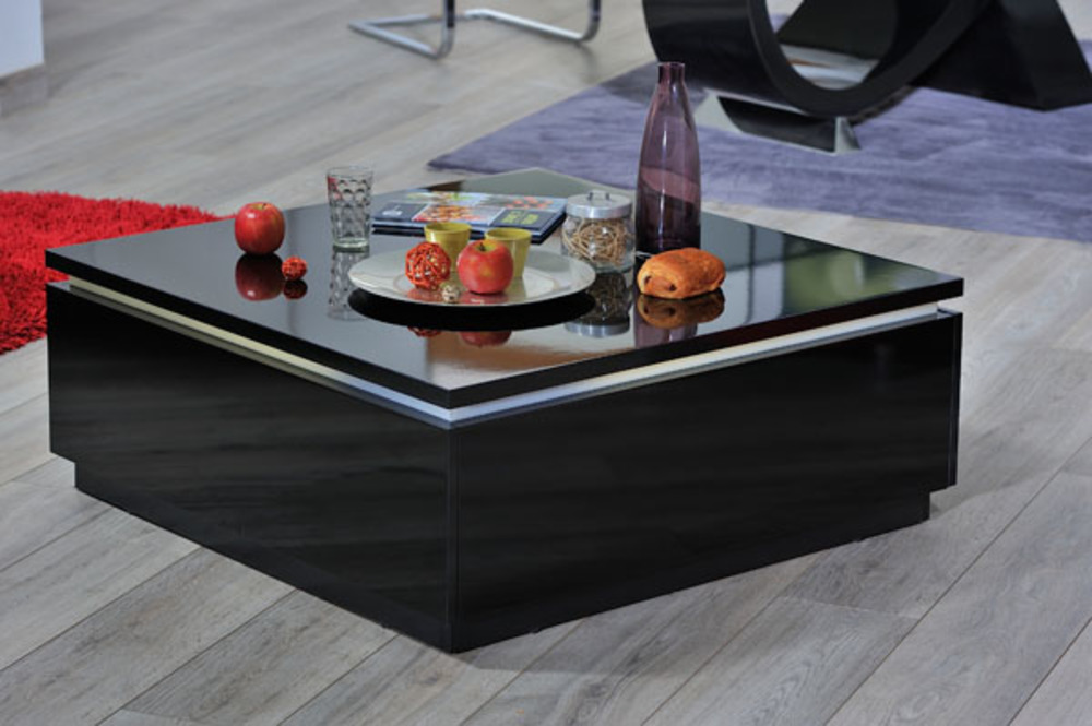 Table basse electra laque noir noir brillant for Table basse noire design
