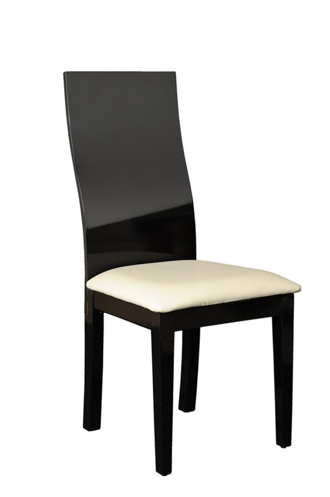 Chaise electra laque noir noir brillant l 46 x h 100 x p 55 for Meuble de salle a manger noir laque