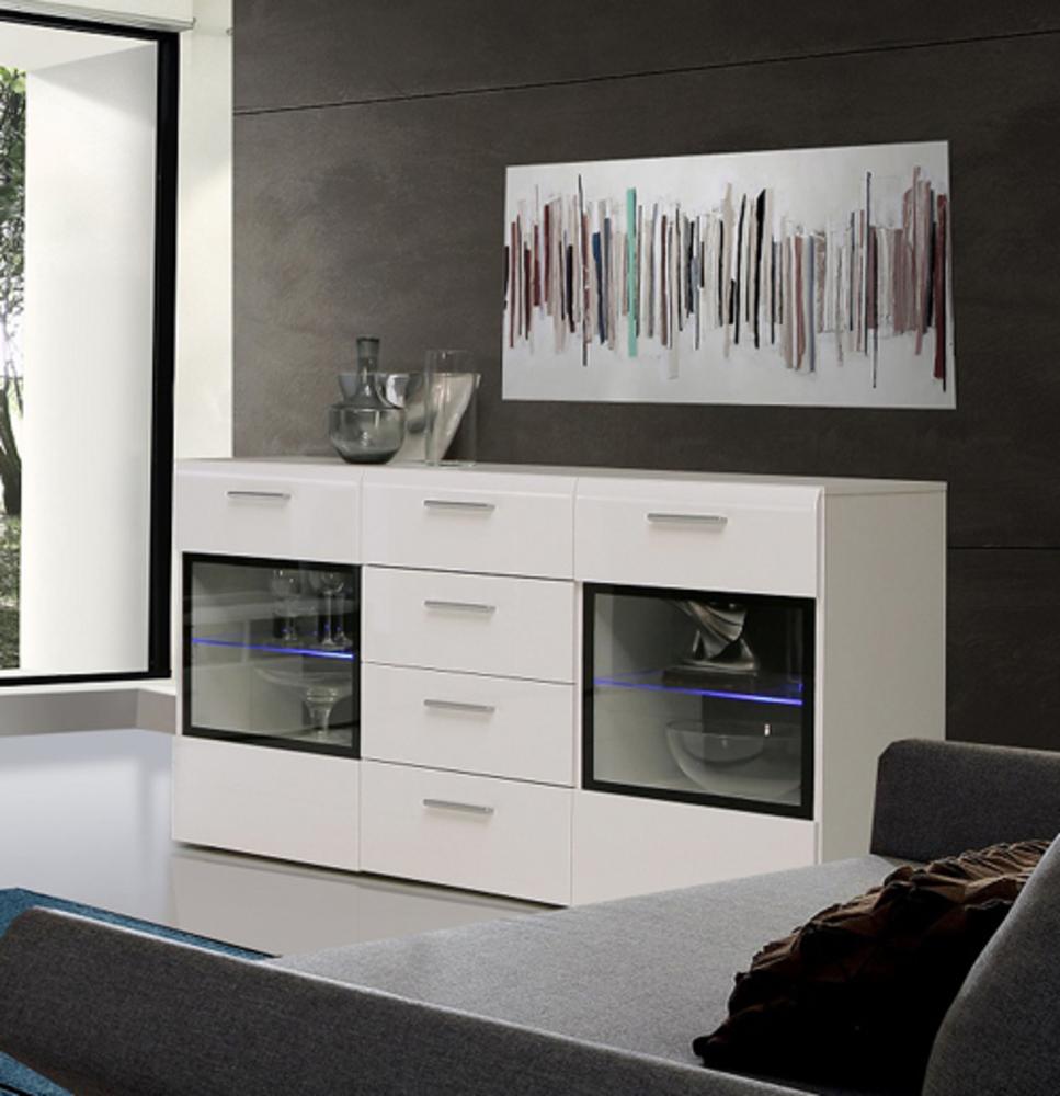 bahut 2 portes 4 tiroirs slate blanc brillant. Black Bedroom Furniture Sets. Home Design Ideas