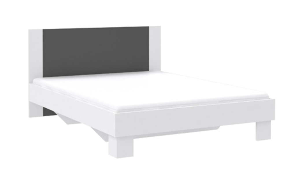 Louisa chambres lits adultes lit blanc gris anthracite for Meubles lits adultes