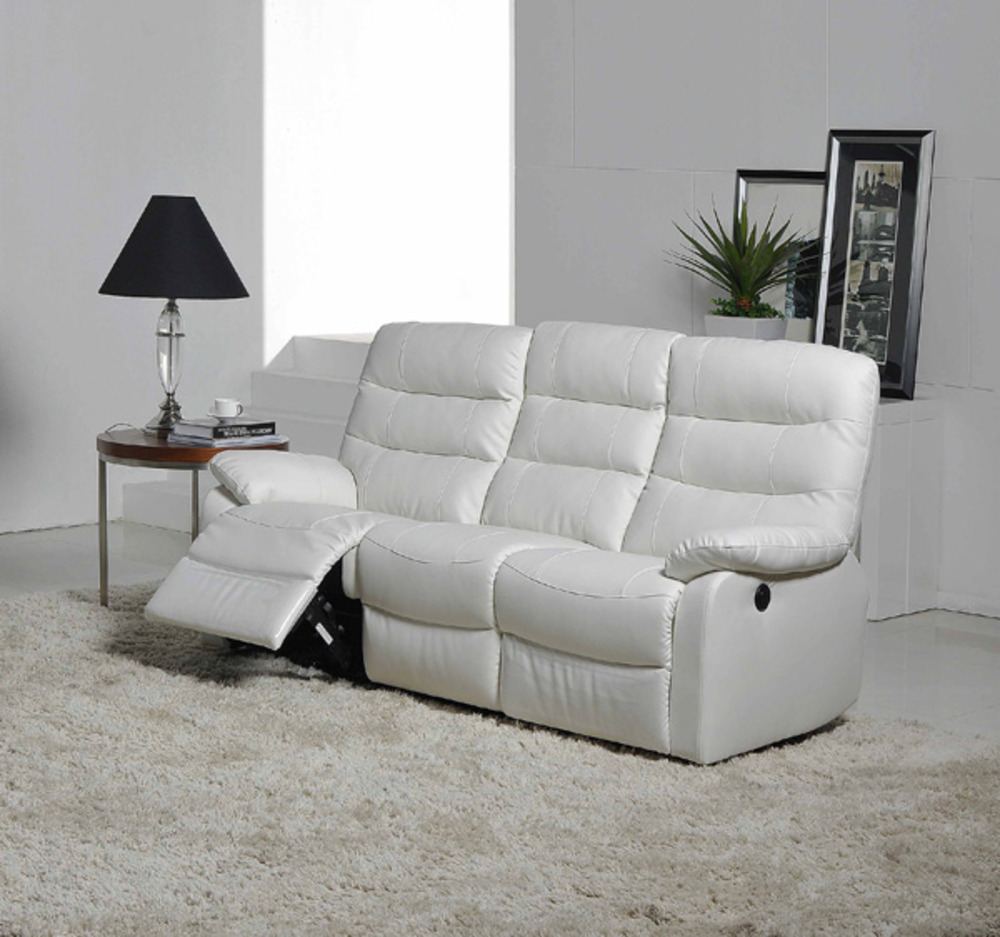 canape relax electrique 3 places cameo blanc neige. Black Bedroom Furniture Sets. Home Design Ideas