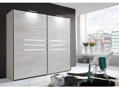 Armoire 2 portes coulissantes Anna chambre à coucher chene blanc