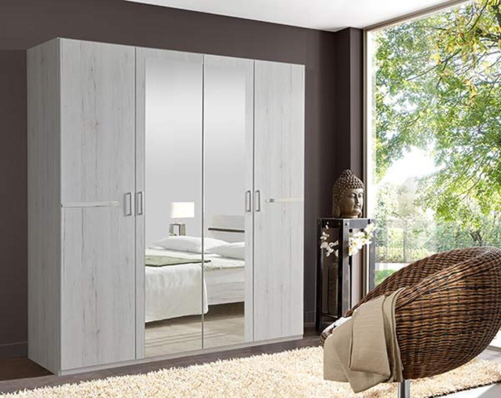 armoire 4 portes anna chambre coucher chene blanc. Black Bedroom Furniture Sets. Home Design Ideas