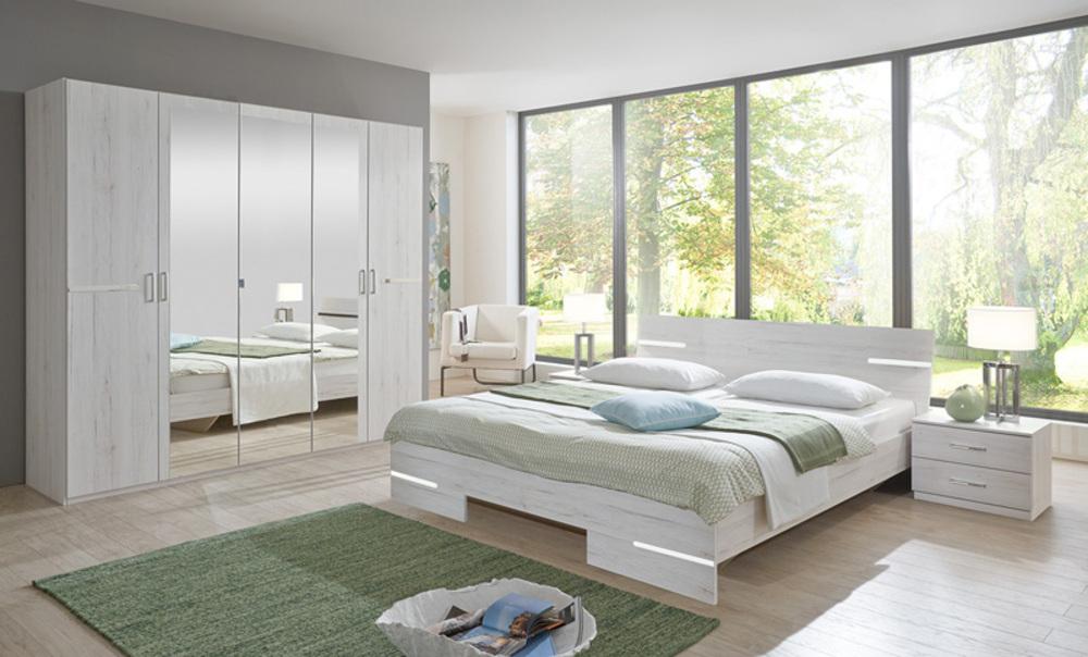 Armoire 4 portes anna chambre coucher chene blanc for Chambre a coucher 6 portes