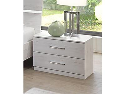 Chevet 2 tiroirs Anna chambre à coucher chene blanc