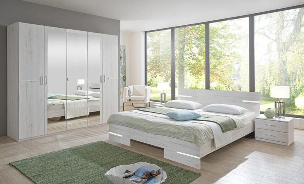 Lit anna chambre coucher chene blancl 169 x h 81 x p 210 for Chambre contemporaine adulte