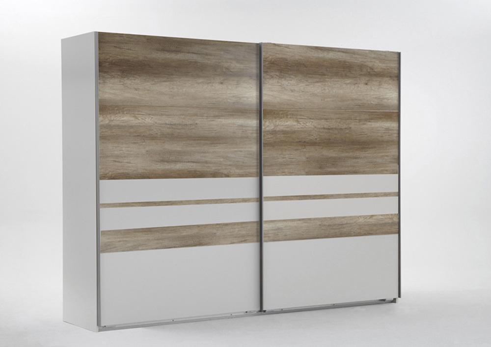 armoire malaga cac blanc chene blanc chene sauvage l 270 x h 210 x p 65. Black Bedroom Furniture Sets. Home Design Ideas