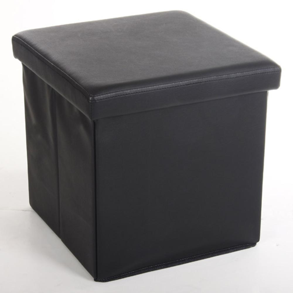 pouf pliable logo noir. Black Bedroom Furniture Sets. Home Design Ideas