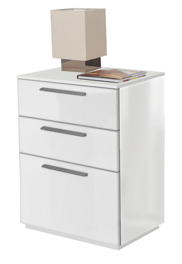 091ae89ca00582 Chevet 3 tiroirs Semplice Blanc brillant
