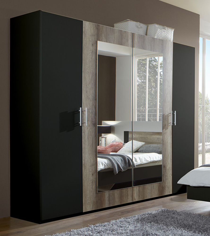 Armoire 4 portes Francy lave/chene sauvage