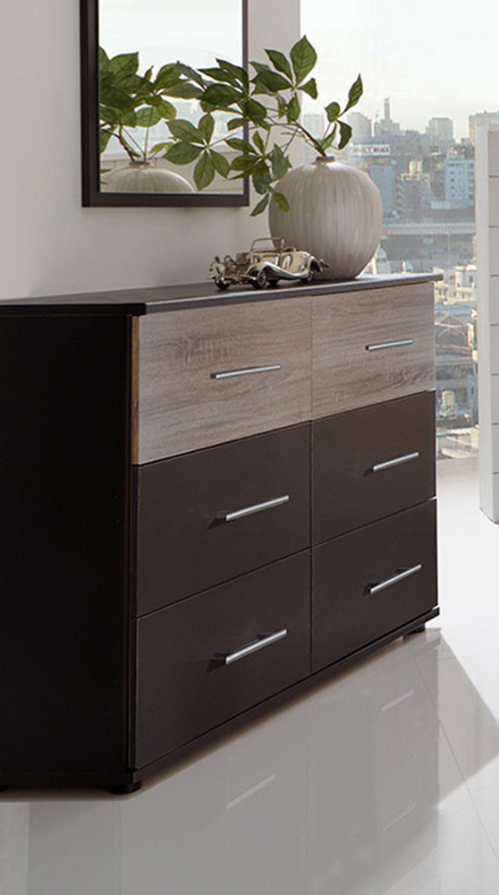 commode 6 tiroirs francy lave chene sauvage. Black Bedroom Furniture Sets. Home Design Ideas