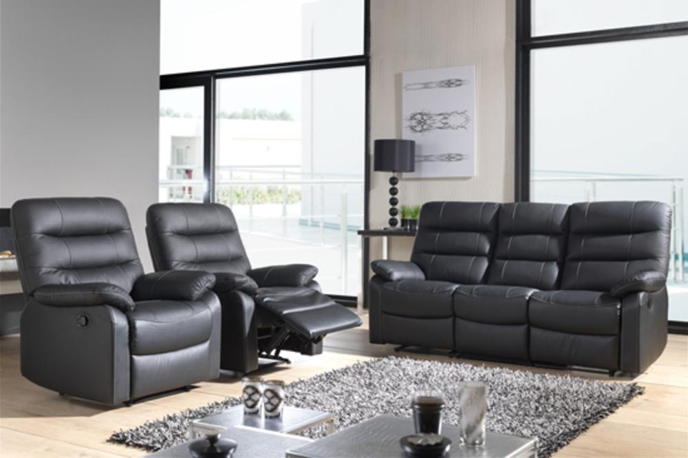 Canap relax electrique 3 places cameo noir for Canape relaxation electrique monsieur meuble