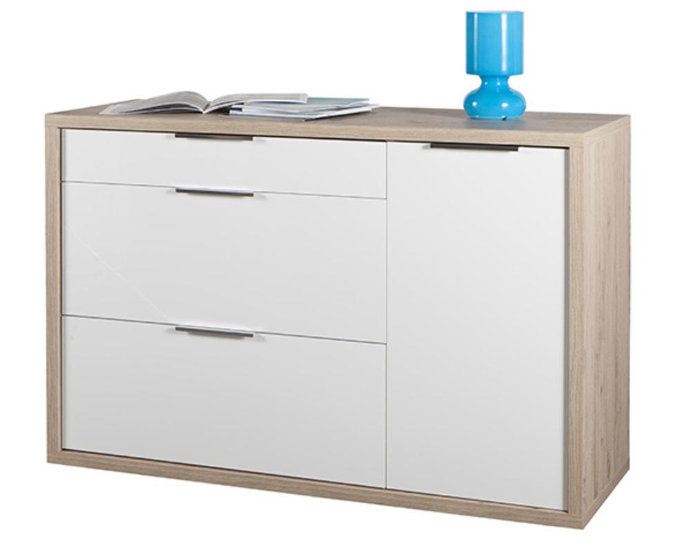 commode 3 tiroirs 1 porte grazia chene clair blanc brillant. Black Bedroom Furniture Sets. Home Design Ideas