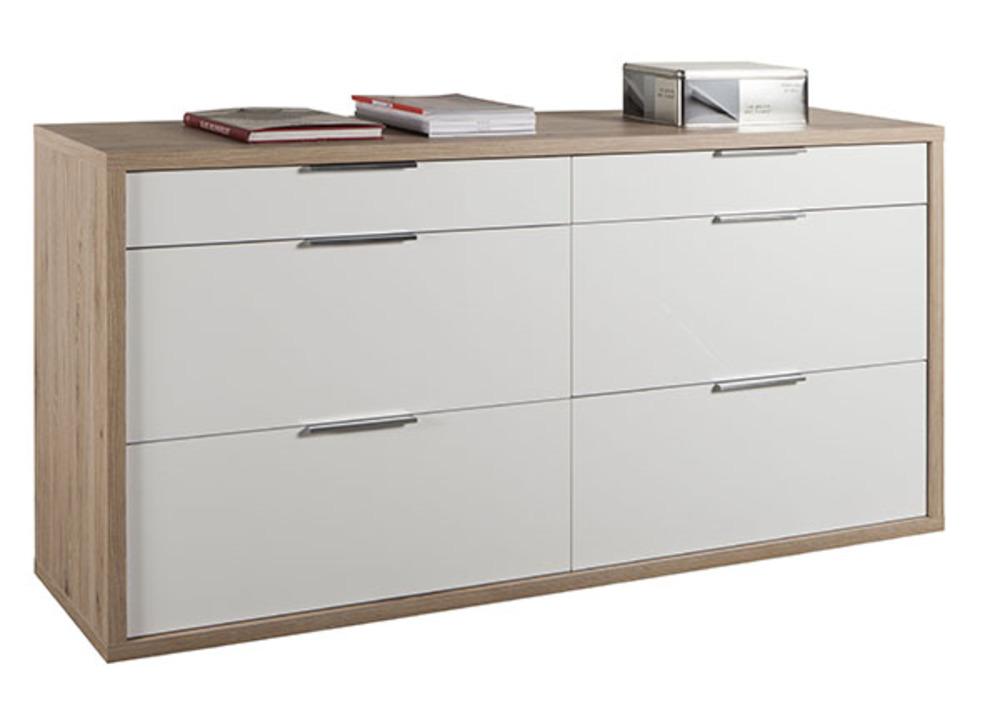 Commode 6 tiroirs grazia chene clair blanc brillant Commode chambre adulte