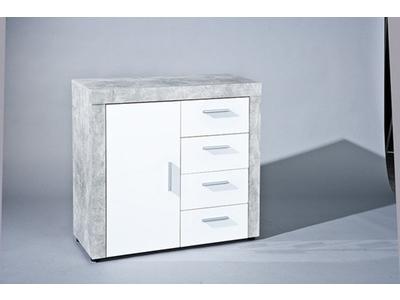 Bahut 1 porte 4 tiroirs Beton