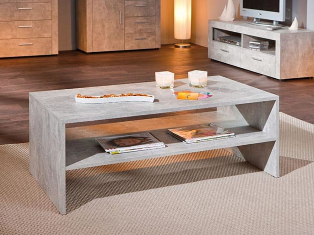 Table basse grise beton for Table basse bois gris clair