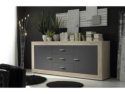 bahut 2 portes 3 tiroirs aura chene samoa gris mat. Black Bedroom Furniture Sets. Home Design Ideas
