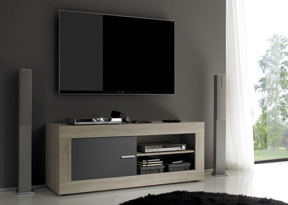 meuble tv aura chene samoa gris matl 140 x h 56 x p 43. Black Bedroom Furniture Sets. Home Design Ideas