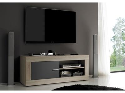 Meuble tv Aura chene samoa/gris mat