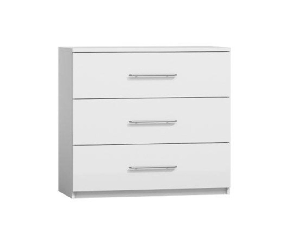 Commode 3 tiroirs chester chambre a coucher blanche for Commode chambre but
