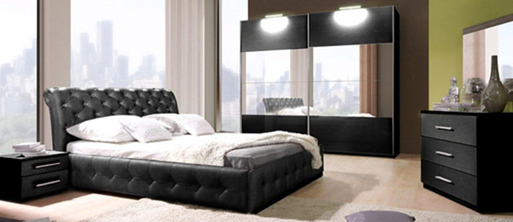 lit chester chambre a coucher noire noir l 160 x h 92 x p 226. Black Bedroom Furniture Sets. Home Design Ideas