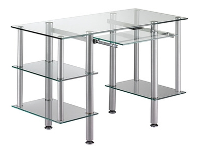 bureau cristal 1 gris argent verre clair. Black Bedroom Furniture Sets. Home Design Ideas