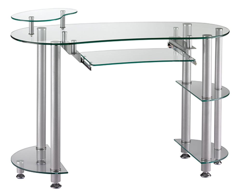 Bureau cristal 2 gris argent verre clair - Table pour ordinateur en verre ...