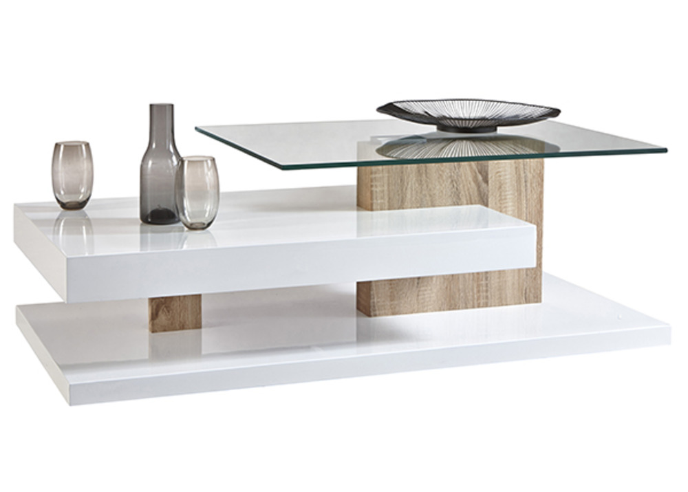 Table basse tritop blanc chene for Table de salon moderne blanc