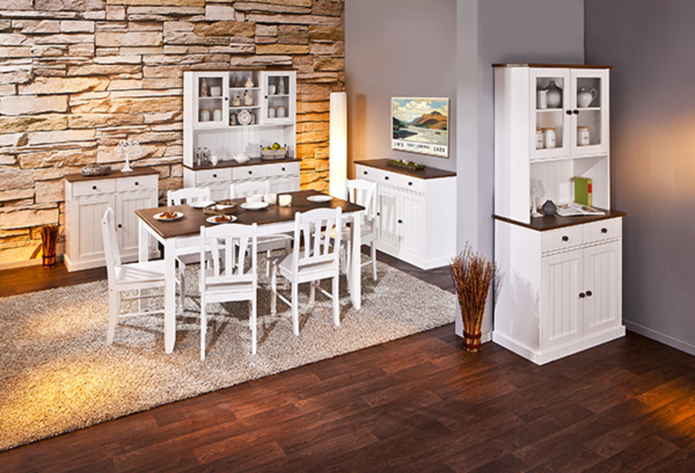 vaisselier 5 portes 3 tiroirs westerland blanc brun. Black Bedroom Furniture Sets. Home Design Ideas