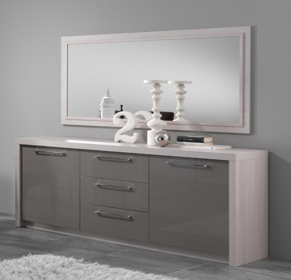 bahut 2 portes 3 tiroirs fano chene blanchi laque gris chene blanchi gris brillant. Black Bedroom Furniture Sets. Home Design Ideas
