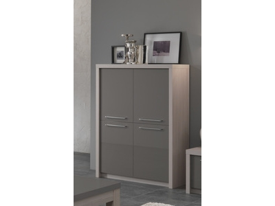 Bar 4 portes Fano chene blanchi/laque gris