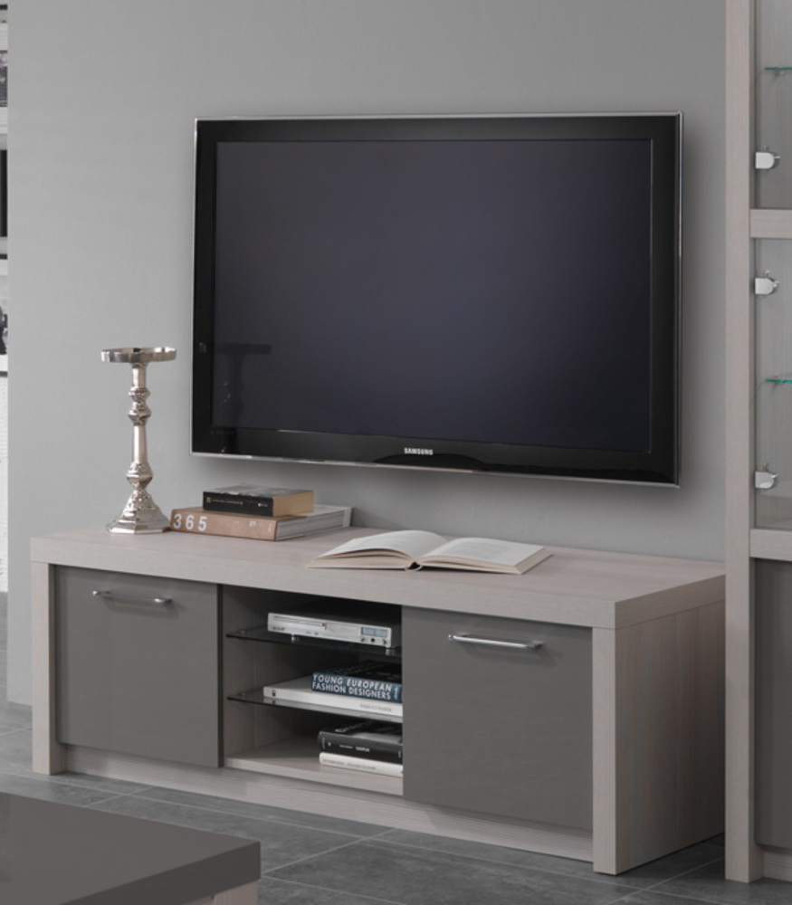 Meuble tv plasma fano chene blanchi laque gris chene for Meuble salon tv