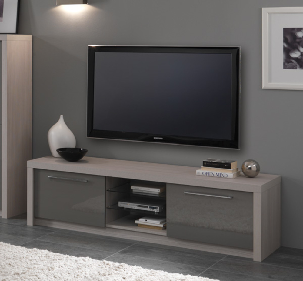 Meuble tv plasma Fano chene blanchilaque gris Chene blanchi gris brillant L  -> Meuble Tv Beige Gris