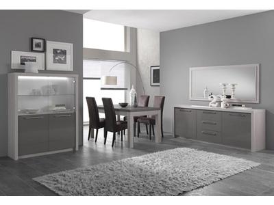 Meuble tv plasma Fano chene blanchi/laque gris