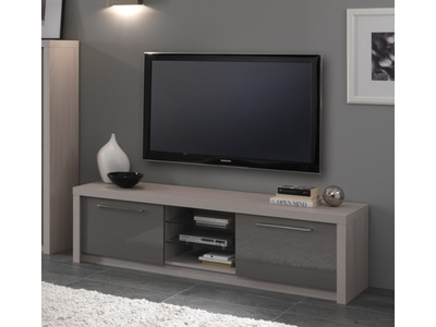 meuble tv plasma fano chene blanchi laque gris chene blanchi gris brillant l 180 x h 50 x p 50. Black Bedroom Furniture Sets. Home Design Ideas